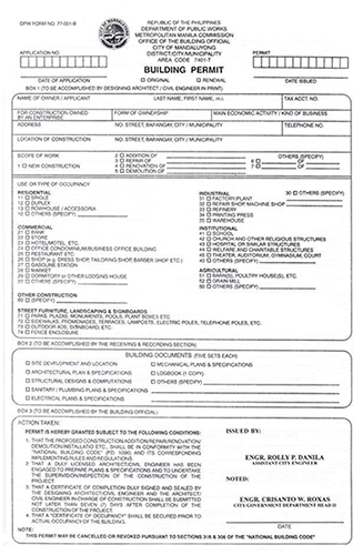 building permit application form in mandaluyong city: what does it look  like?